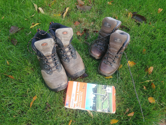 Picture of walking boots and map