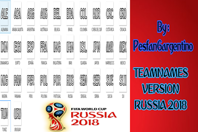 PES 6 Fonts Team Names World Cup 2018 by PESFanArgentino