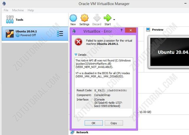 Cara Mengatasi Error Failed Open Session VirtualBox by zotutorial