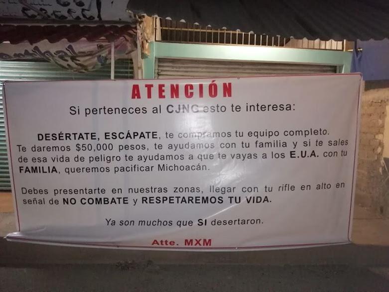 En Michoacán colocan Narcomantas invitando a desertar a los Sicarios del CJNG, al parecer los Carteles unidos ya no pueden con ellos