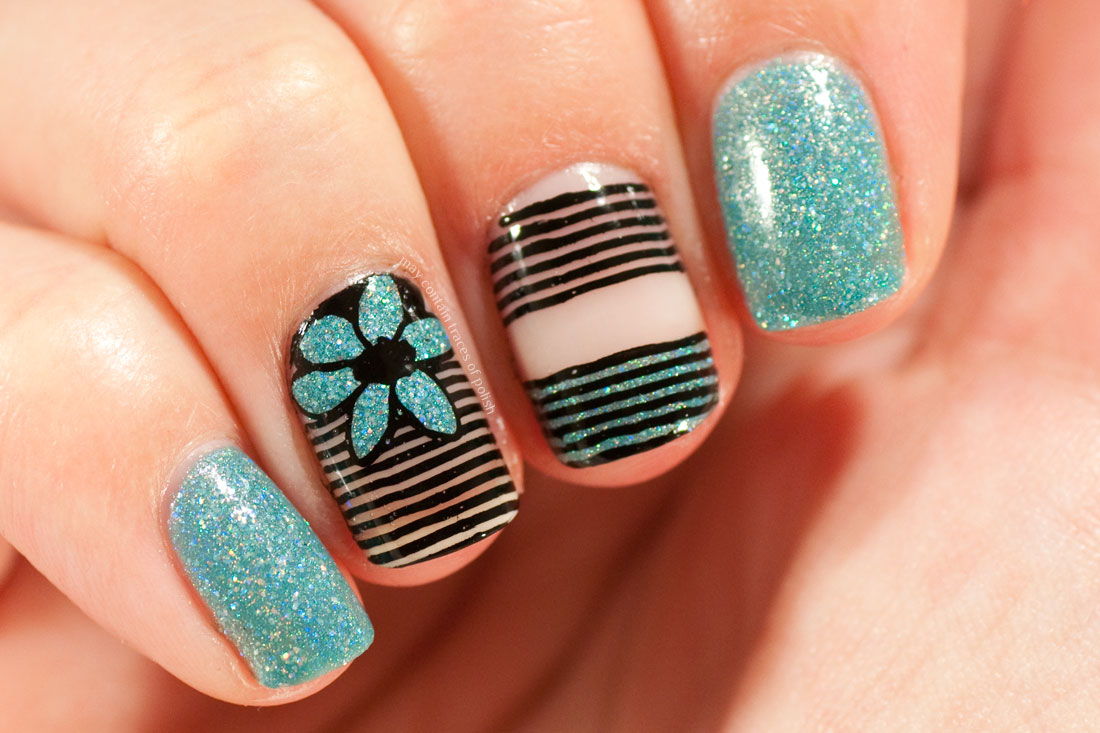 Striped Negative Space Nail Art with Glam Polish Rehab and MoYou London Flower Power 21