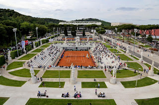 The uniquely ornate setting of Italy's national tennis centre at the Foro Italico, home of the Italian Open