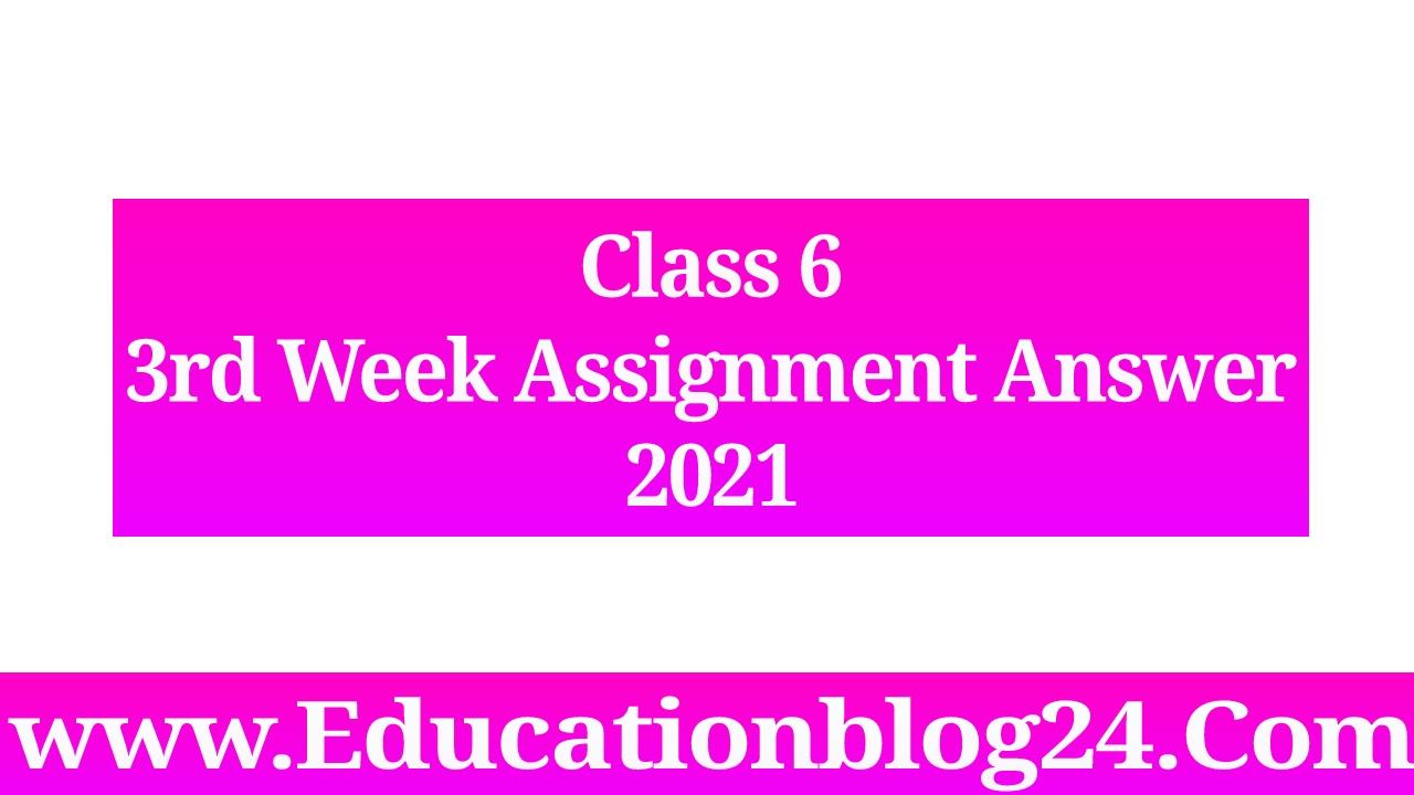 Class 6 assignment 2021 3rd week answer      ৬ষ্ট/ষষ্ঠ শ্রেণির ৩য় অ্যাসাইনমেন্ট উত্তর ২০২১