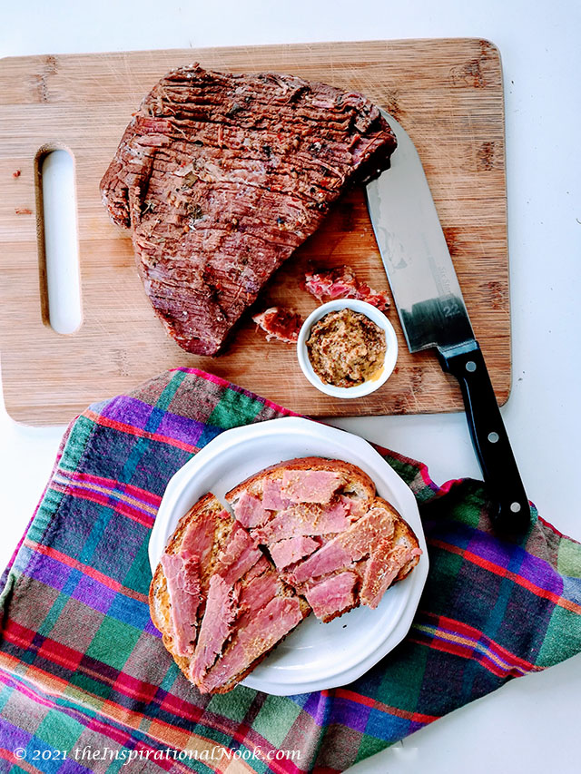 Salt Beef and mustard sandwich, Irish Corned Beef, Salt meat, brined meat, preserved meat with curing salt, home cured meat