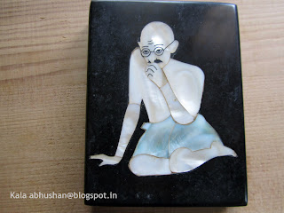 Paper weight , mother of pearl inlay , Gandhiji