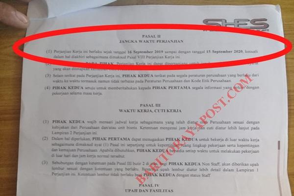Kontrak Eks Karyawan SHES Seharusnya Mengacu Pada Kontrak PT SHES Dengan PT SEM