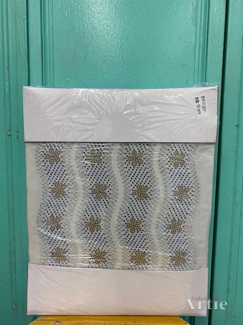 Pelekat hotfix sticker rhinestone DMC aplikasi tudung bawal fabrik pakaian bunga 5 kelopak berombak