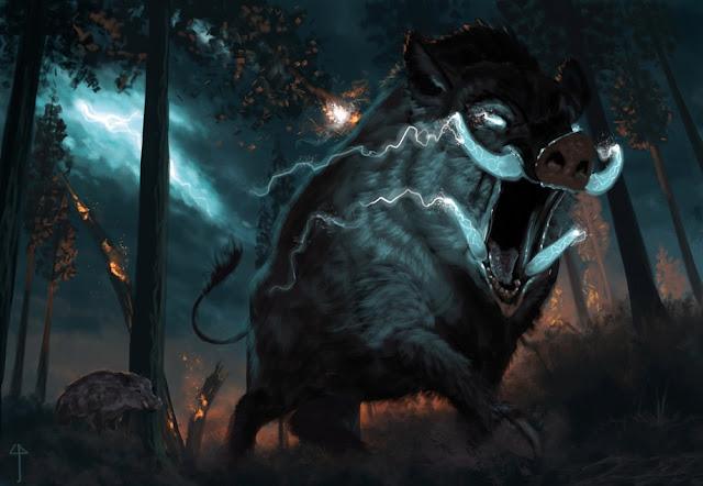Gorthok the Thunder Boar charging toward Falcon's Hunting Lodge