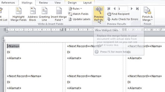Membuat Label Undangan di MS Word 2010