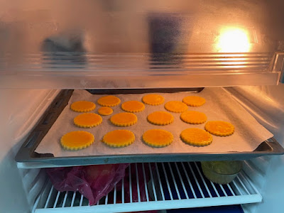 chilling the cut cookies brushed with egg yolk