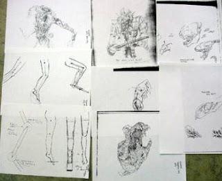 Bocetos originales para diseñar al Depredador