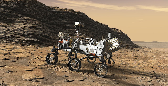 This artist's concept shows a close-up of NASA's Mars 2020 rover studying an outcrop. Image Credit: NASA/JPL-Caltech