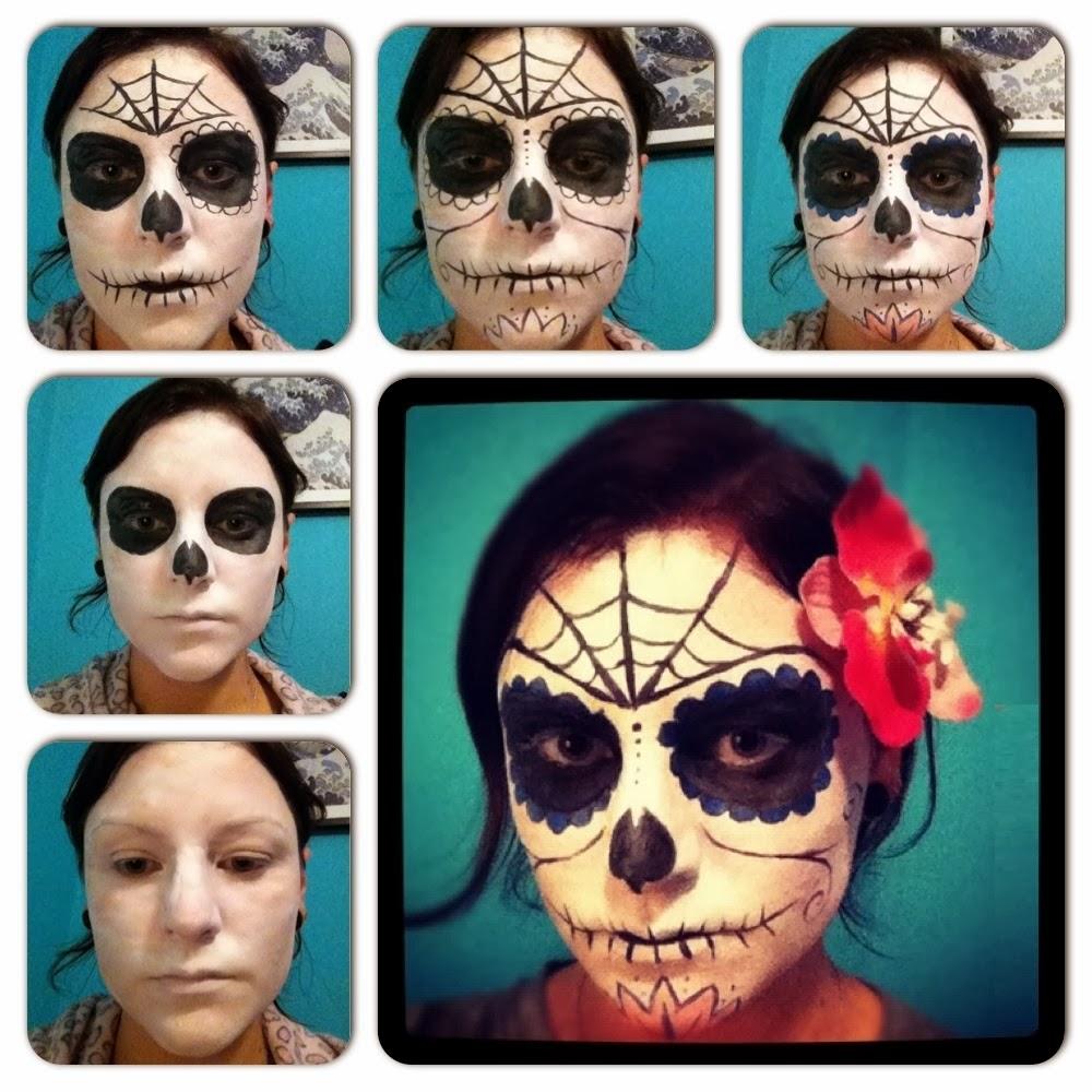 Muyvariadocom Caras Pintadas Para Halloween Diseno Calavera Con - Cara-pintada-para-halloween