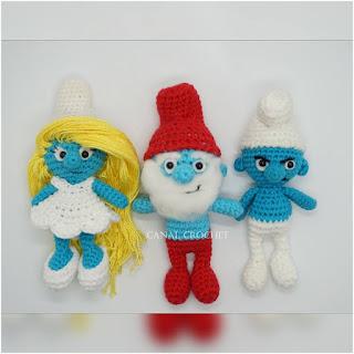 patron amigurumi Pitufos canal crochet