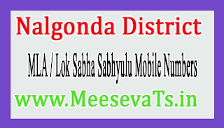Nalgonda District MLA & Lok Sabha Sabhyulu Mobile Numbers List Telangana State