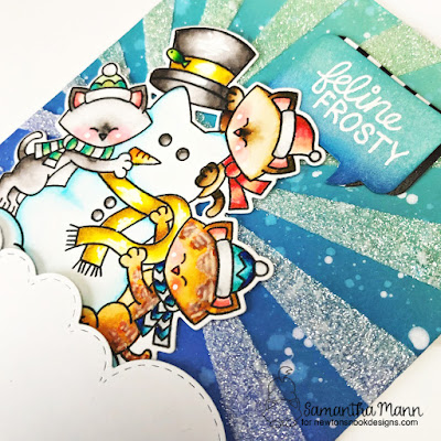 Feline Frosty Card by Samantha Mann for Newton's Nook Designs, Distress Inks, Oxide Inks, Christmas, Cards, Handmade Cards, stencil, embossing paste #newtonsnook #stencil #distressinks #oxideinks #inkblending