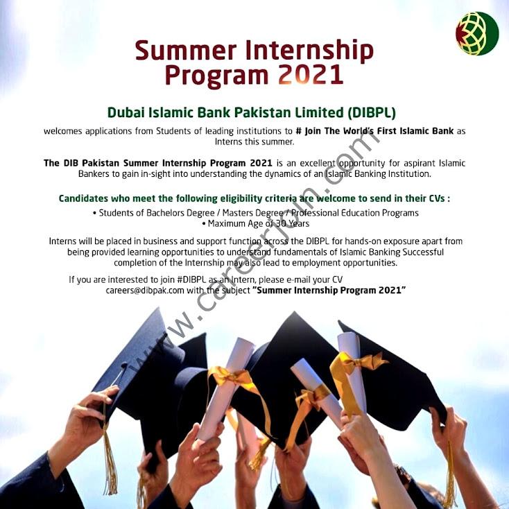 Dubai Islamic Bank Pakistan DIB Summer Internship Program July  2021