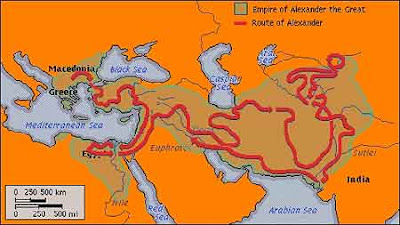 This map shows Alexander the Great's massive empire and the route he took to conquer it.