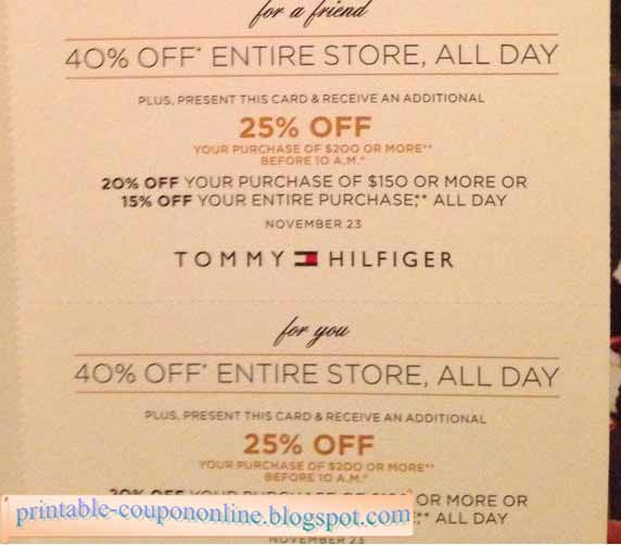 Tommy hilfiger coupon november 2018
