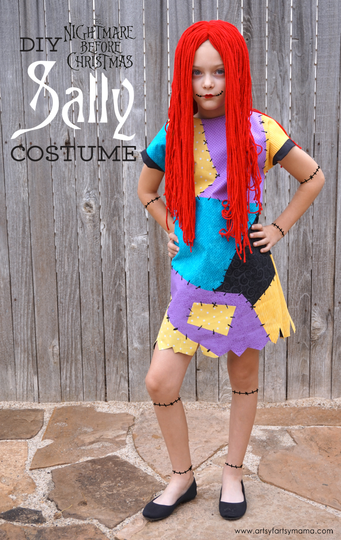 DIY Nightmare Before Christmas Sally Costume - Dress and Wig Tutorial - DIY Nightmare Before Christmas Sally Costume Artsy-fartsy Mama