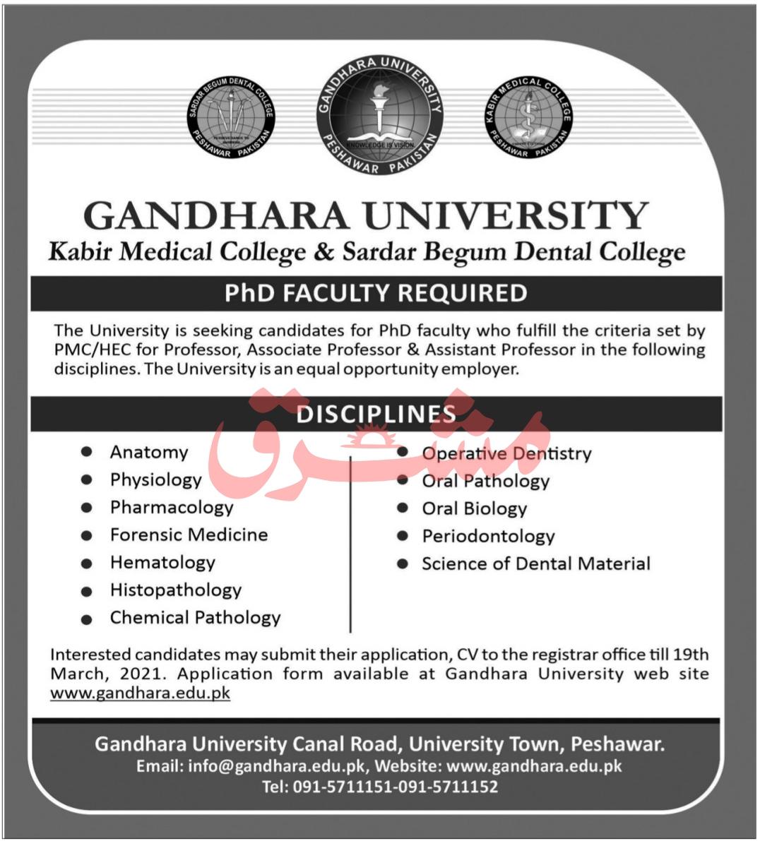 Gandhara University Peshawar Jobs 2021 in Pakistan - Online Apply :- www.gandhara.edu.pk