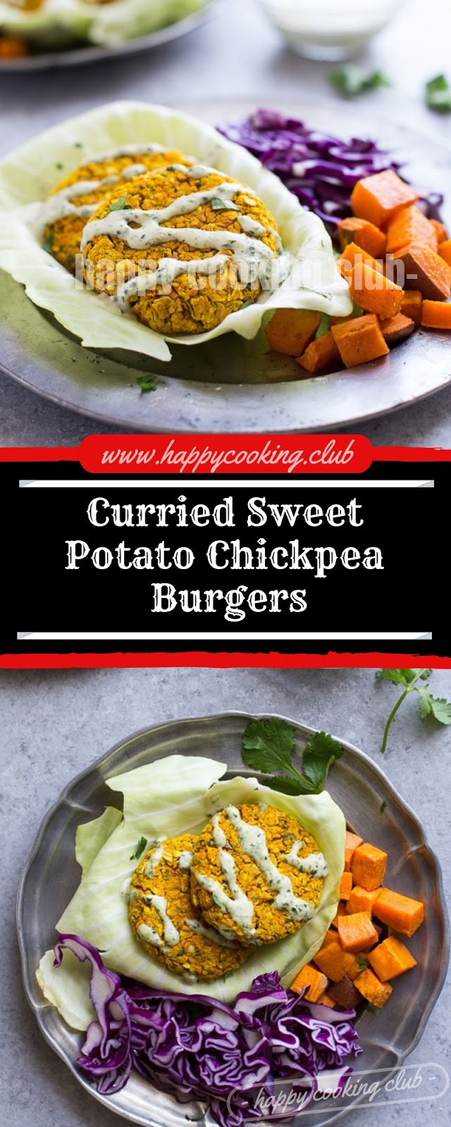 Curried Sweet Potato Chickpea Burgers