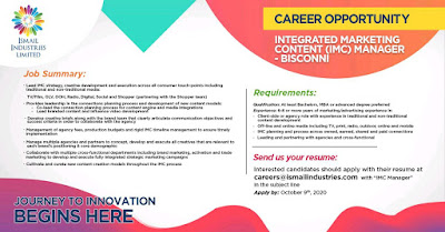 Ismail Industries Ltd Jobs 2020 For IMC Manager Latest