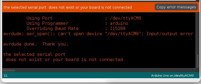 Solved Arduino Error Linux /dev/ttyACM0 : Input/output Error