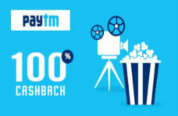 Movie Ticket 100% Cashback upto Rs 100 (No Min Booking) for All Users at PayTm