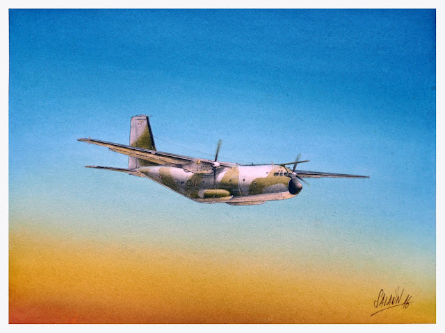 C-160, Transall, Aquarelle, watercolor, ET 02-064, Anjou