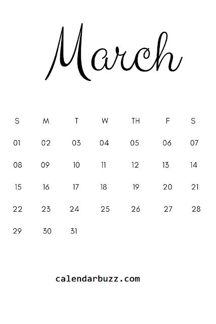 Simple calendario del mes de marzo del 2020