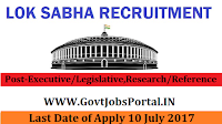 Parliament of India Lok Sabha Recruitment 2017- Executive/Legislative/Committee/Protocol Officer