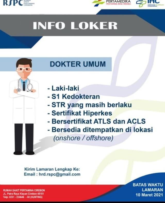 Loker Dokter RS Pertamina Cirebon