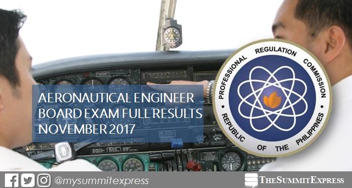 November 2017 Aeronautical Engineer board exam passers list, top 10