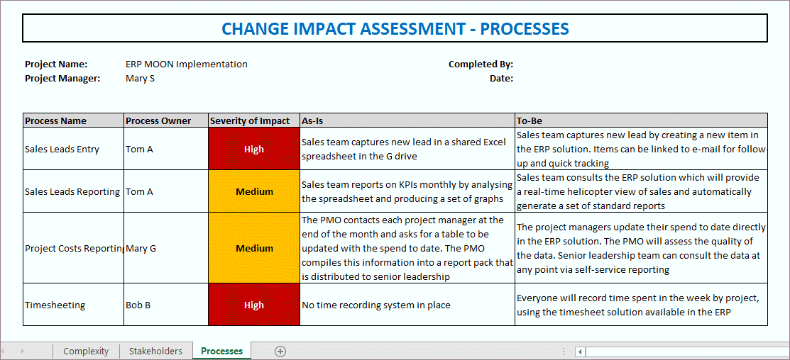 impact assessment template, change impact assessment template