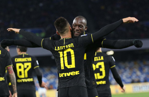 Romelu Lukaku and Lautaro Martinez celebrating a goal for Inter Milan