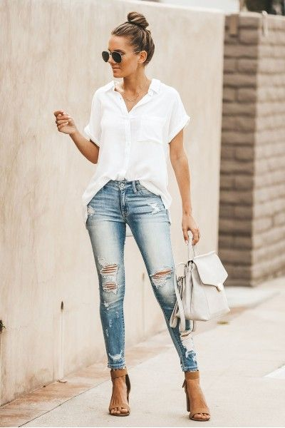 blusa blanca outfit