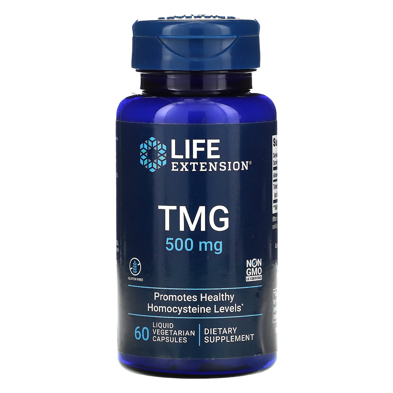 Life Extension, TMG, триметилглицин, 500 мг, 60 вегетарианских капсул с жидкостью