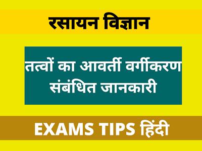 Periodic Classification of Elements, तत्वों का आवर्ती वर्गीकरण संबंधित जानकारी, Periodic Classification of Elements Related Knowledge in Hindi, तत्वों का आवर्ती वर्गीकरण