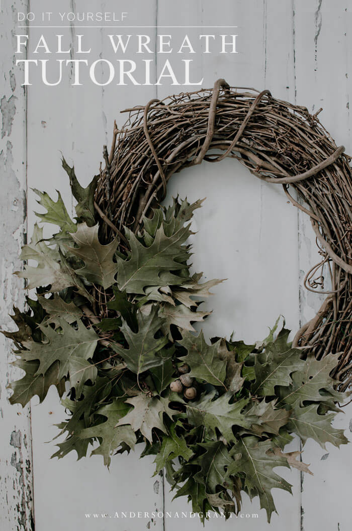 In no time at all you'll have a beautiful fall leaf wreath for your front door with this easy tutorial.