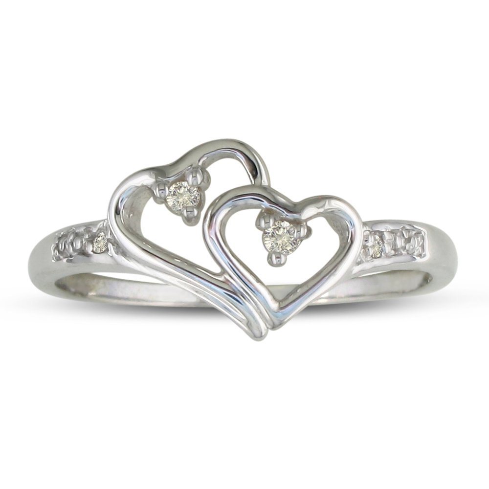 Double Heart Diamond Promise Ring | Elegant Rings