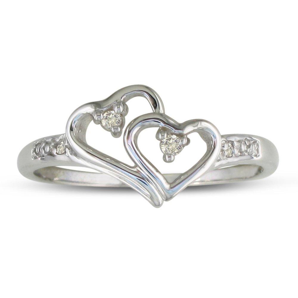 Double Heart Diamond Promise Ring | Elegant Rings