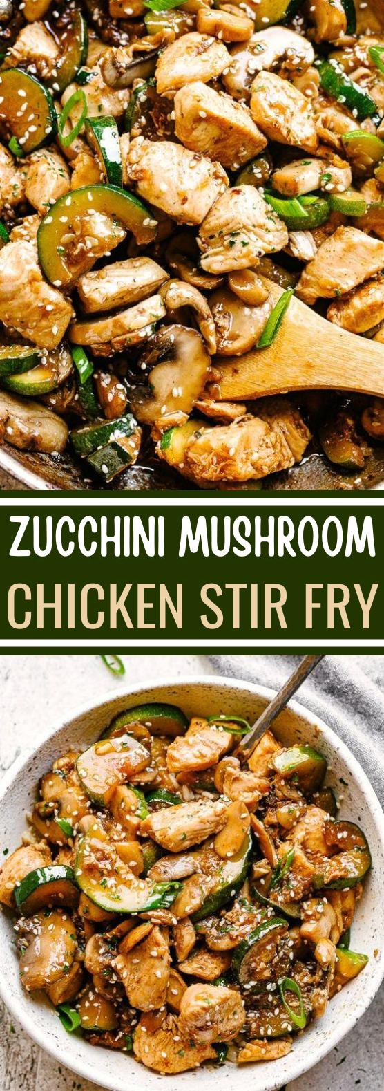 Zucchini Mushroom Chicken Stir Fry #healthy #recipes #lowcarb #diet #dinner