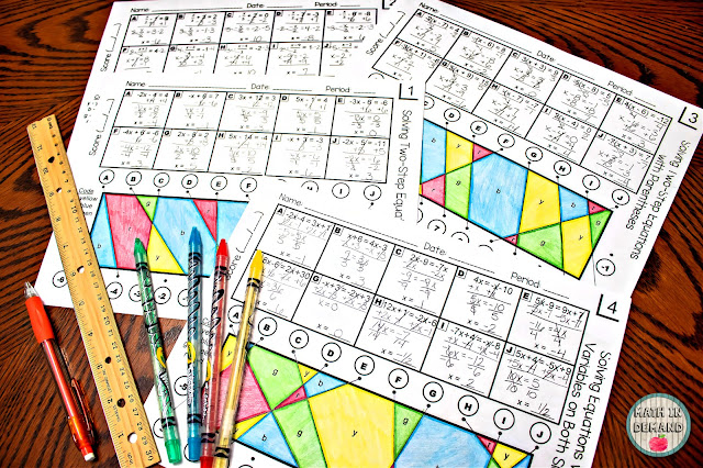 Solving Equations Stained Glass Activity