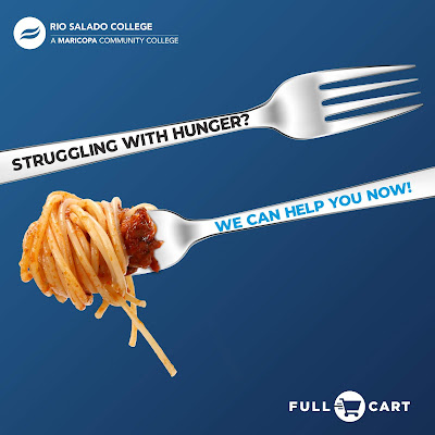 "Graphic shows forks with food on them. Text reads, ""struggling with hunger"""