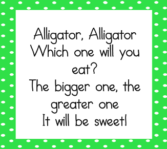 picture about Greater Than Less Than Alligator Printable known as Alligator, Alligator! - Littlest Students