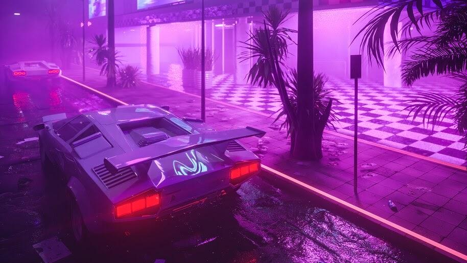 Lamborghini, Car, Neon, Night, Digital Art, 4K, #6.2522
