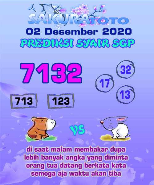 Syair Sakuratoto SGP Rabu 02 Desember 2020