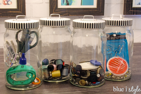 Sewing Kit Canisters with Washi Tape Lids