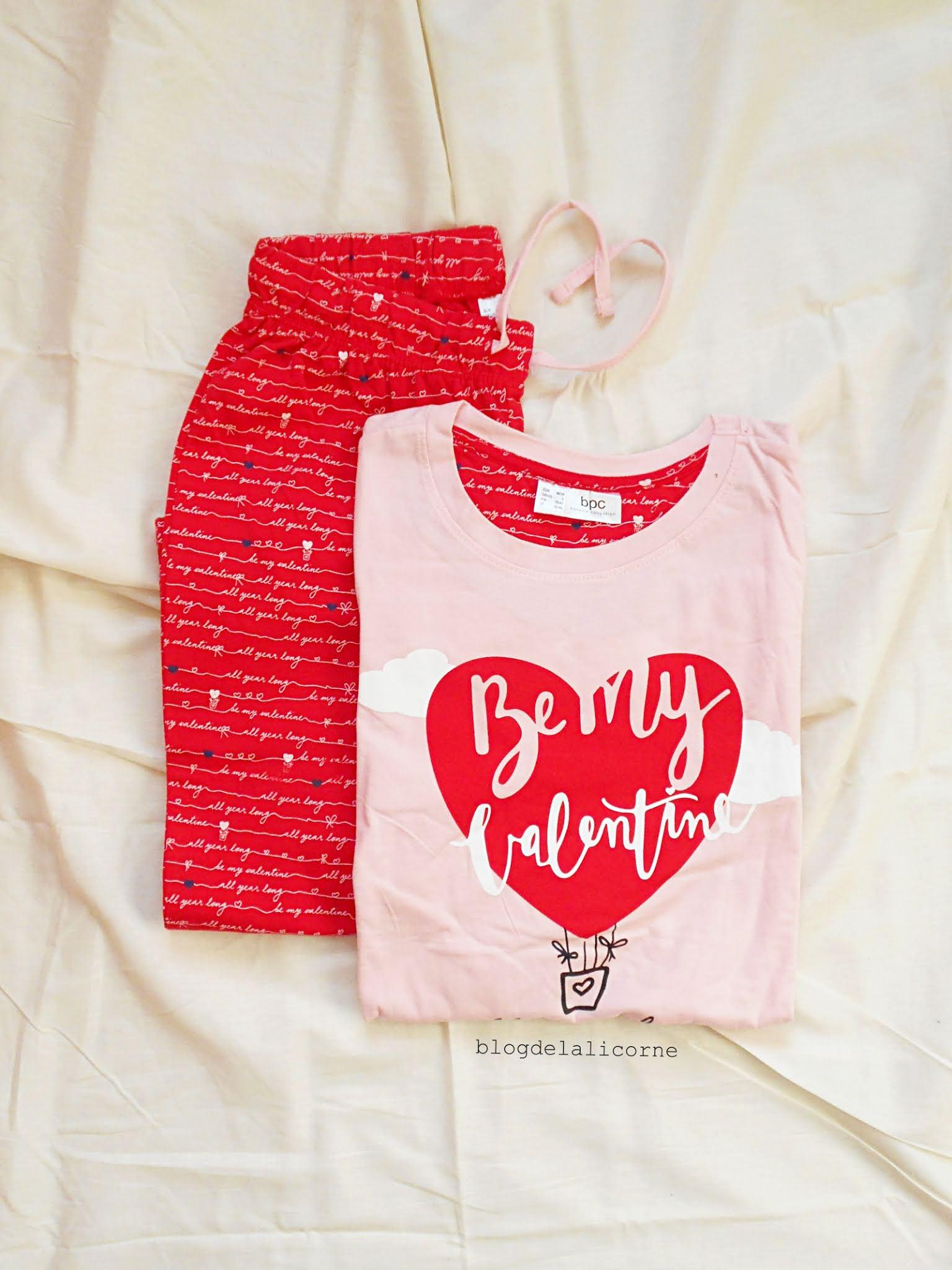Ružové valentínske pyžamo Bonprix